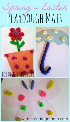 FREE Open-Ended Spring-Themed Playdough Mats ~ 4 Spring Mats and 4 Easter Mats, great for encouraging creativity and fine motor skills | This Reading Mama