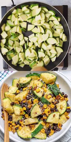 This Zucchini Salad recipe is so flavorful easy to make and the perfect side dish recipe you can enjoy all year round. Made with Zucchini fresh corn beans and parmesan cheese this recipe will be ready in 15 minutes. Veggie Dishes, Veggie Recipes, Healthy Dinner Recipes, Healthy Snacks, Breakfast Recipes, Healthy Dinner Sides, Lunch Recipes, Recipes With Zucchini Vegetarian, Side Dish Recipes