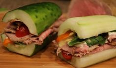 Cucumber sandwich, no bread, ...cucumber, roast beef, turkey, or chicken, spinach, tomato, and any other of your favorite fixings.