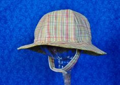 Green Plaid Baby Sunhat with Chin Straps by AdorableandCute on Etsy