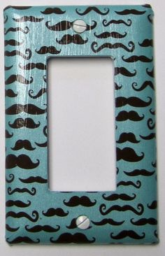 Single Rocker Switch Plate - Moustaches on Teal