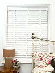 Pure White & White Wooden Blind with Tapes - 64mm Slat