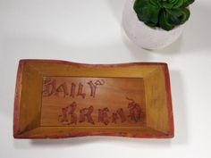 Vintage Wood Small Tray Plate DAILY BREAD by ChattCatVintage