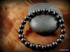 Bracelet en SHUNGITE, véritable pierre naturelle – Bracelet santé et bien-être - Bracelet extensible style Bohème