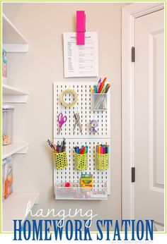 Hanging Homework Station (...or craft station!) | via MichaelsMakers Make It and Love it