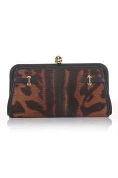 Alexander McQueen Leather Clutch In Brown and Black.