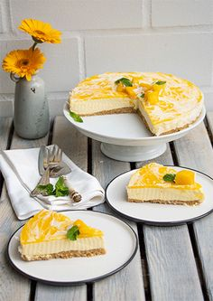 Mango Kokos Cheesecake (no bake) Panna Cotta, Food Project, Low Carb, Keto, Baking, Ethnic Recipes, Muffins, Cakes, Birthday Cakes