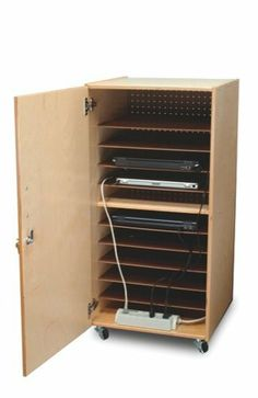 Whitney Brothers Birch Laminate Laptop Security Cabinet, Single by Whitney Brothers. $323.79. From the Manufacturer                This unit conveniently stores up to 10 laptops and their electronic accessories in a lockable birch laminate cabinet in tough, easy-to-clean natural UV finish. Rolls away when not in use. Easy power cord access enables you to recharge computers overnight. Power strip not included. Dimensions: 20.25in. × 20.25in. × 41in. Truck NH. GreenGuard Certi...