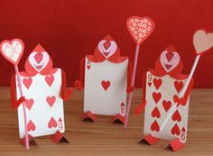 "Love these ""Valentine"" decorations using playing cards."