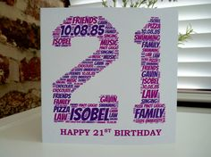 Personalised 21st Card - available now on my Etsy shop connorinteriors.etsy.com