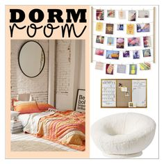 """Dorm Room Style"" by theseapearl ❤ liked on Polyvore featuring interior, interiors, interior design, home, home decor, interior decorating, Umbra, Magical Thinking, PBteen and dormroomstyle"
