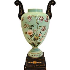 Bohemian Czech Harrach Extraordinary Turquoise Green Art Glass Vase Attached Hand Carved Black Hyalith Handles Plinth Base Enameled Bees Butterfly Flowers c 1878
