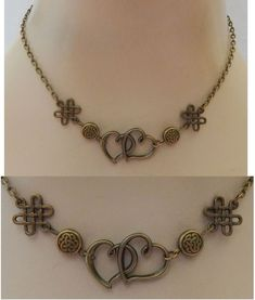 Gold Double Heart Strand Necklace Jewelry Handmade NEW Fashion Accessories #Handmade #StrandString