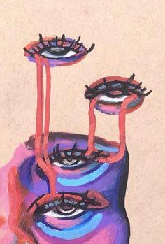Arte Gcse, Art Sketches, Art Drawings, Arte Grunge, Mini Canvas Art, Funky Art, Hippie Art, Psychedelic Art, Pretty Art