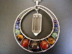 chakras & crystal pendulum to balance them! Wire Wrapped Jewelry, Metal Jewelry, Crystal Jewelry, Wiccan Jewelry, Chakra Jewelry, Chakra Necklace, Medieval Jewelry, Wire Crafts, Jewelry Crafts