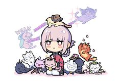 Nightingale x Cats Chibi Cat, Cute Chibi, Anime Chibi, Fate Zero, Elizabeth Bathory, Fate Stay Night Anime, Monster Prom, Night In The Wood, Florence Nightingale