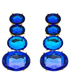 Blue crystal Long rose drop Details about  /Earrings choose clip on or pierced