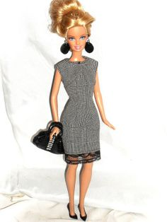 Barbie Doll Clothes  Black and White Plaid by NiteBabyDollWorld, $11.99