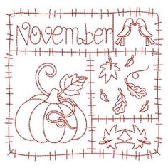 Redwork 12 Months of the Year Set, 12 Designs - 3 Sizes! | Redwork | Machine Embroidery Designs | SWAKembroidery.com