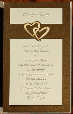 Romance is in the air when you choose this mocha stardream slide with brilliant gold hearts. The details of your special day are on a soft ecru card and simply slide into the backer. Brown Wedding Invitations, Photo Cards, Mocha, Special Day, Holiday Cards, Bliss, Hearts, Romance, Place Card Holders