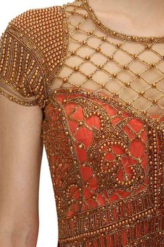 Red antique gold bead embroidered pant sari available only at Pernia's Pop Up Shop. By Sonakshi Raaj