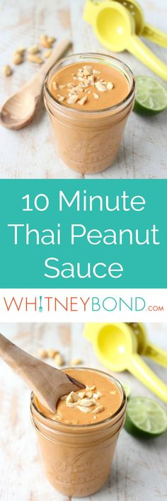 Whether you drizzle it over buddha bowls, add it to pizza or toss it with noodles, this easy 10 minute Thai Peanut Sauce recipe is sure to be a hit! Ise br sugar sub for S Peanut Sauce Recipe, Sauce Recipes, Vegan Peanut Sauce, Peanut Butter Sauce, Vegetarian Recipes, Cooking Recipes, Snacks, Quick Easy Meals, Asian Recipes