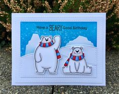 Polar Bear Pals stamp set from MFT Stamps. Card by Mocha Frap Scrapper Card Making Inspiration, Making Ideas, Scrapbook Cards, Scrapbooking, Bear Card, Winter Birthday, Noel Christmas, Christmas Ideas, Mft Stamps