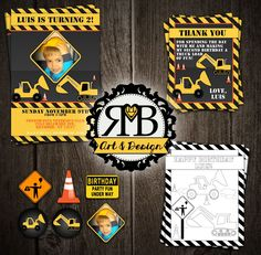 Construction Birthday Party package designed by RMB Art & Design https://www.facebook.com/RMBArtAndDesign/ #constructionparty #boysbirthdayideas #construction #yellowandblack #coloringpage #invitation #cupcaketoppers #thankyoucard #hardhat