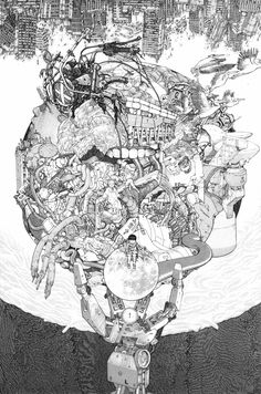 The incredible illustrator/ graphic artist Katsuhiro Otomo, showing off. If you have any interest in illustration, you really should have a good long look at  any (or all!) of the six original 'Akira' manga.