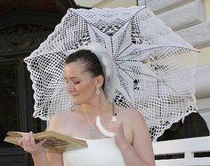 Sonnenschirm in weiss oder Elfenbein Hochzeit, Gehäkelte Spitzen Dach, viktorianischen Sonnenschirm, Hochzeit Stütze, Sommer Hochzeit Foto Requisiten, Weihnachtsgeschenk
