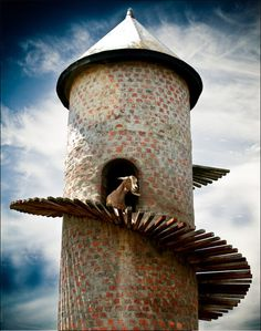Taylor Goat tower in Paarl, South Africa: It's like Rapunzel with a cast of goats! Art Et Architecture, Out Of Africa, Tier Fotos, Top Of The World, Africa Travel, Cape Town, Stairways, Pretoria, South Africa