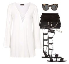 """Untitled #1973"" by andreagm ❤ liked on Polyvore featuring Motel, Illesteva, Chloé, Ancient Greek Sandals and Topshop"