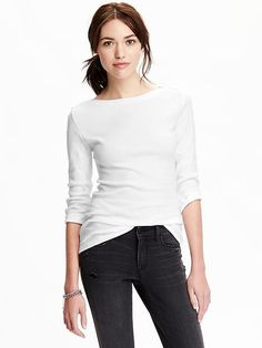 3/4-Sleeve Boat-Neck Top - material: opaque weight: light