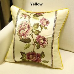 Flower embroidered throw pillows Chinese style home decoration cushions 18 inch