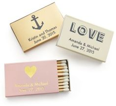Personalized Matches - MATCHBOXES $40/100! personalization is free customize with L&J in futura font theknot.com