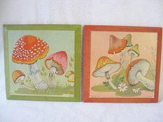 Mushroom wall hangings/pair of vintage mushroom wall hangings/1971 green and orange mushrooms