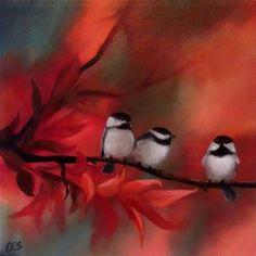 Original PAINTING CES- Chickadee Autumn Bird Fall Branch Red NFAC EBSQ Art Sale #MyStyle