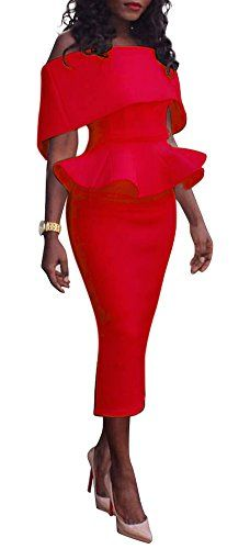New Blansdi Women Off Shoulder Ruffle Plain Bodycon Party Pencil Peplum Dress online. Perfect on the Meaneor Dresses from top store. Sku euww24587cxrq27356