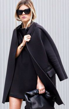 all black. #blackcoat #fall #sunglasses #outfit