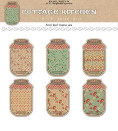 Digital Shabby Chic  Mason Jar Tags / vintage kraft paper collage sheet / shabby chic / two sizes / downloadable / printable