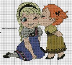Anna & Elsa cross stitch pattern