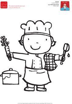 Kleurplaat van 'De kok'. Uit de beroepenserie van Liesbet Slegers.