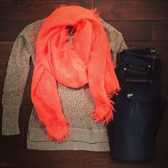 A scarf is the perfect way to add a pop of color to your fall #outfit…#fallfashion #outfitguide #ootd