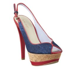 Nine West 'Cunning' Denim Peeptoe Slingbacks Denim, red and cork sky high Nine West peeptoe slingback heels. 5.5 inch heel, 1.5 inch platform. These were only wore once, but great condition except for the minor wear on the back of heels (see last photo) Nine West Shoes
