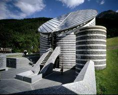 Church of San Giovanni Battista, Mogno, Ticino, Switzerland, 1996, designed by Ticinese architect Mario Botta.