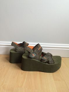 90s Army Sporty Platform Sandal by girlfood on Etsy