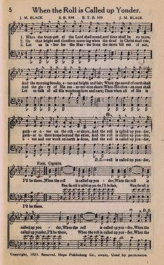 When the Roll is Called up Yonder - Printable Antique Hymn Book Page from KnickofTimeInteriors.blogspot.com