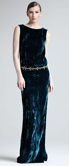 Oscar de la Renta crushed velvet dress