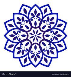 Decorative floral mandala vector image on VectorStock Mandala Floral, Motif Floral, Abstract Flowers, Mandala Design, Flower Watercolor, Stencils Mandala, Stencil Art, Stencil Designs, Dot Art Painting