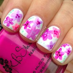 Simple flowers mani nailart